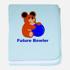 Future Bowler in Blue baby blanket