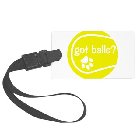 got balls yellow.png Large Luggage Tag