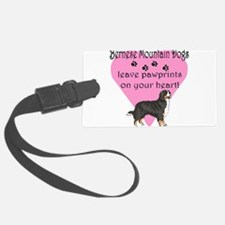 bernese mountain dogs pawprints darks.png Luggage Tag