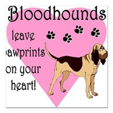 """bloodhound pawprints.png Square Car Magnet 3"""" x 3"""""""