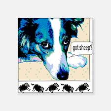 "border collie got sheep2a.png Square Sticker 3"" x"