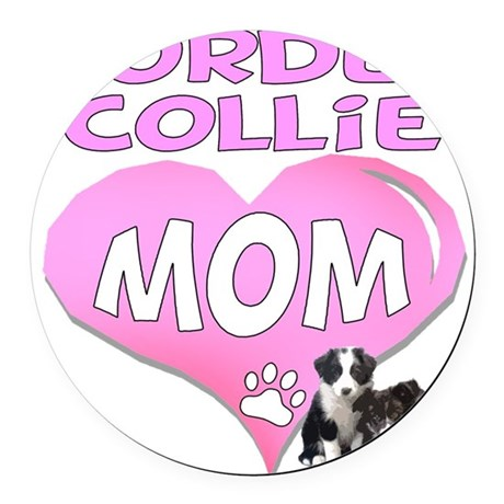 border collie mom heart2.png Round Car Magnet