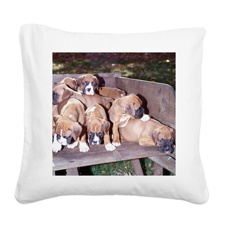 boxer pups sq dry brush.png Square Canvas Pillow