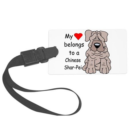My heart shar pei.png Large Luggage Tag