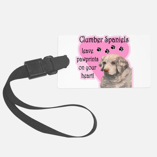 clumber spaniels pawprints dark.png Luggage Tag
