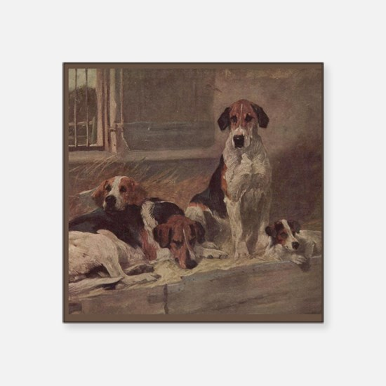 "Cute English foxhound Square Sticker 3"" x 3"""