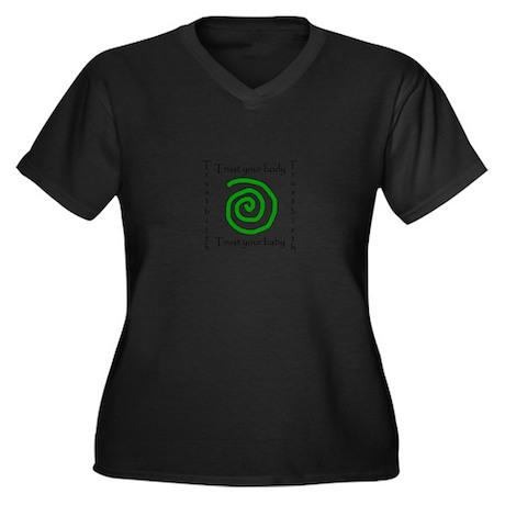 Trust birth Women's Plus Size V-Neck Dark T-Shirt