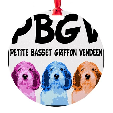 PBGV Pop Art Round Ornament