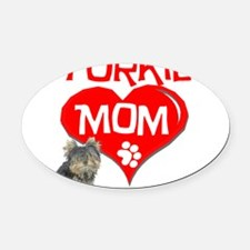 yorkie mom.png Oval Car Magnet