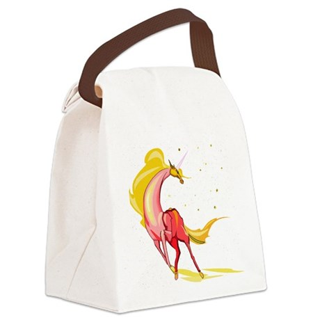 orange yellow unicorn glitter.png Canvas Lunch Bag