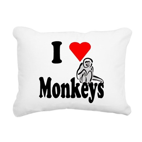 I Love Monkeys2.png Rectangular Canvas Pillow