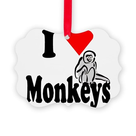I Love Monkeys2.png Picture Ornament