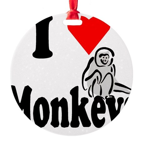 I Love Monkeys2.png Round Ornament