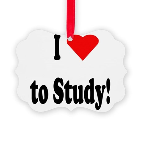 I heart study sq.png Picture Ornament