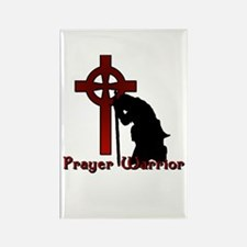Prayer Knight Red Rectangle Magnet