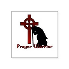 "Prayer Knight Red Square Sticker 3"" x 3"""