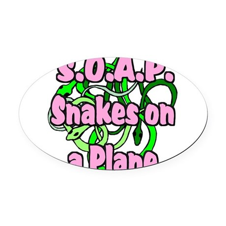 soap with snakes blue.png Oval Car Magnet