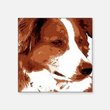 red border collie-2 watercolor red Sticker