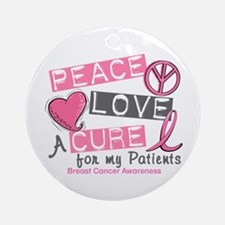Peace Love A Cure For Breast Cancer Ornament (Roun