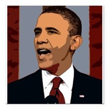 "Obama Graphic Square Car Magnet 3"" x 3"""