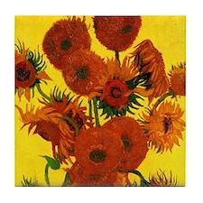Van Gogh 15 Sunflowers (High Res) Tile Coaster