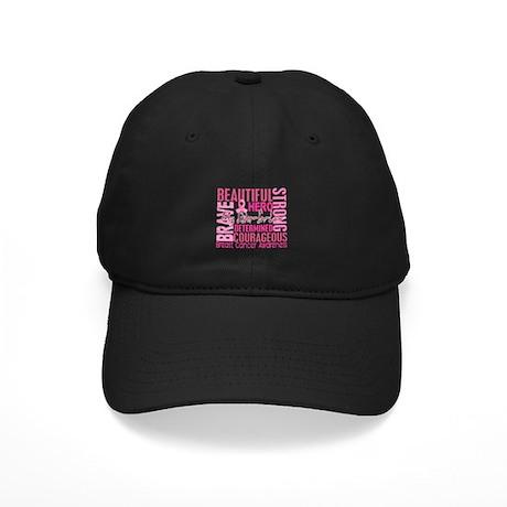 Tribute Square Breast Cancer Black Cap
