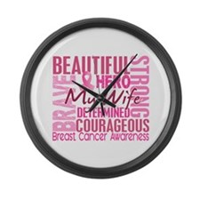 Tribute Square Breast Cancer Large Wall Clock