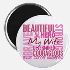 """Tribute Square Breast Cancer 2.25"""" Magnet (10 pack"""