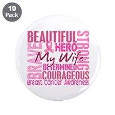 """Tribute Square Breast Cancer 3.5"""" Button (10 pack)"""