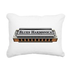 Blues Harmonica Rectangular Canvas Pillow