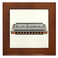 Blues Harmonica Framed Tile