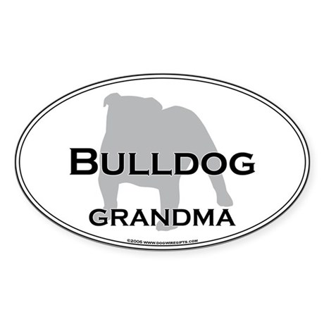Bulldog GRANDMA Oval Sticker