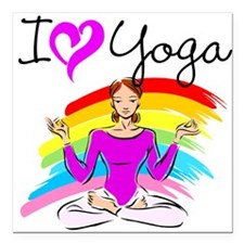 "I LOVE YOGA Square Car Magnet 3"" x 3"""