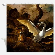 A Swan Enraged by Hondius Shower Curtain