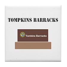 Tompkins Barracks with Text Tile Coaster