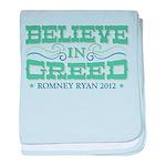 Believe in Greed baby blanket