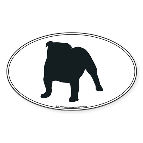Bulldog Silhouette Oval Sticker