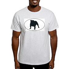 Bulldog Silhouette Ash Grey T-Shirt