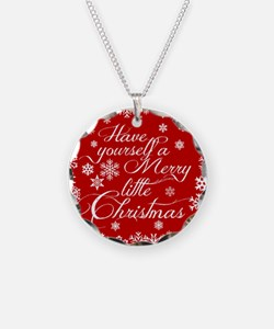 Merry little Christmas Necklace Circle Charm