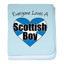Everyone Loves Scottish Boy baby blanket