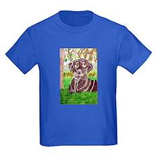 Chocolate Labrador by Jocelyn Triggle Kids Dark T-