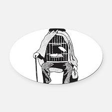Bird Cage Man Oval Car Magnet