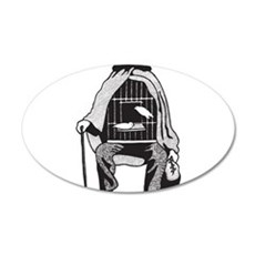 Bird Cage Man 35x21 Oval Wall Decal