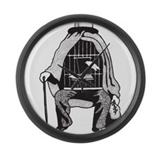 Bird Cage Man Large Wall Clock