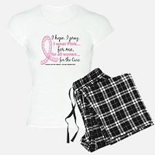 Hope Pray Wear Pink Breast Cancer Pajamas