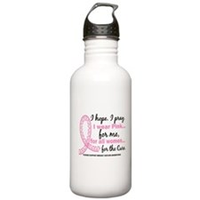Hope Pray Wear Pink Breast Cancer Water Bottle