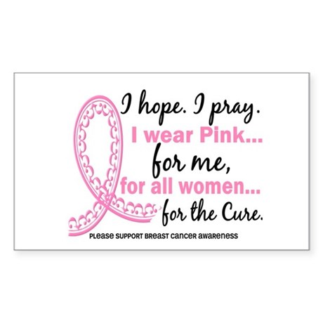 Hope Pray Wear Pink Breast Cancer Sticker (Rectang