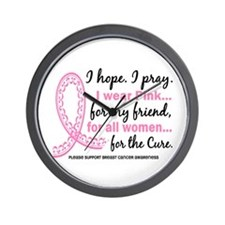 Hope Pray Wear Pink Breast Cancer Wall Clock