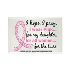 Hope Pray Wear Pink Breast Cancer Rectangle Magnet