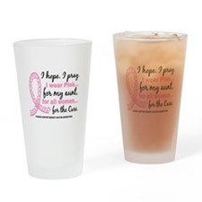 Hope Pray Wear Pink Breast Cancer Drinking Glass